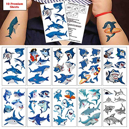 Shark Temporary Tattoo(100 design),COKOHAPPY Shark Tattoo Body Sticker Costume Accessories for Ocean Sea Shark Themed Baby Shower Birthday Party Favor Supplies Decor for Boy Girl Kid Party Bag Filler for $<!--$4.99-->