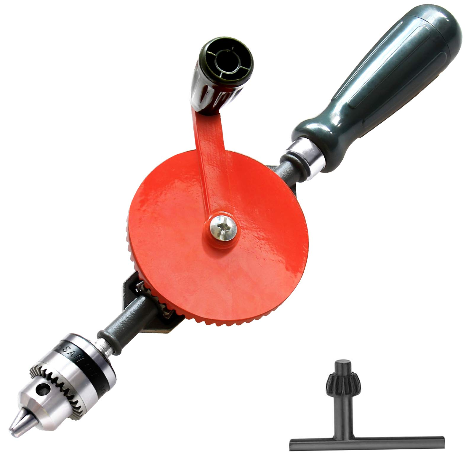 Frylr Hand Drill Speedy Powerful Manual Hand Crank Drill 3/8 inch(0.8MM-1.8MM) With S/S cast 3 Jaw Chucks, ABS Anti Slip Handle
