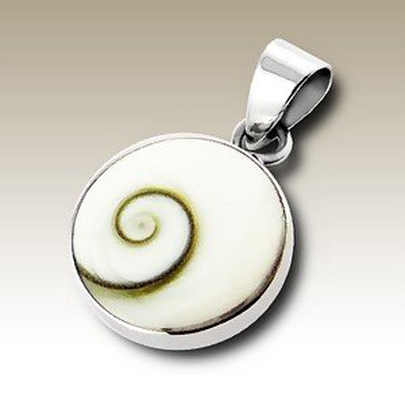 Shiva Eye White Shell Pendant, Sterling Silver 925 (E2254)