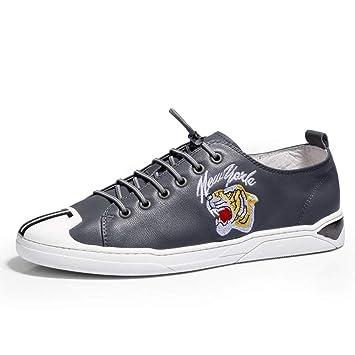 Eeayyygch Zapatos de Cuero Respirables de los Hombres Zapatos de Verano Trend Blancos Zapatos de Encaje de Moda (Color : Gris, tamaño : 6UK(Foot Length ...