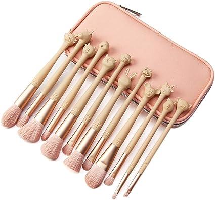 JUNGEN Pincel de maquillaje zodiaco creativo con Estuche Brochas de maquillaje facial Cepillo cosmético para Sombra de ojos Base Rubor Polvo Corrector Set de brochas 12 pcs Rosa: Amazon.es: Belleza
