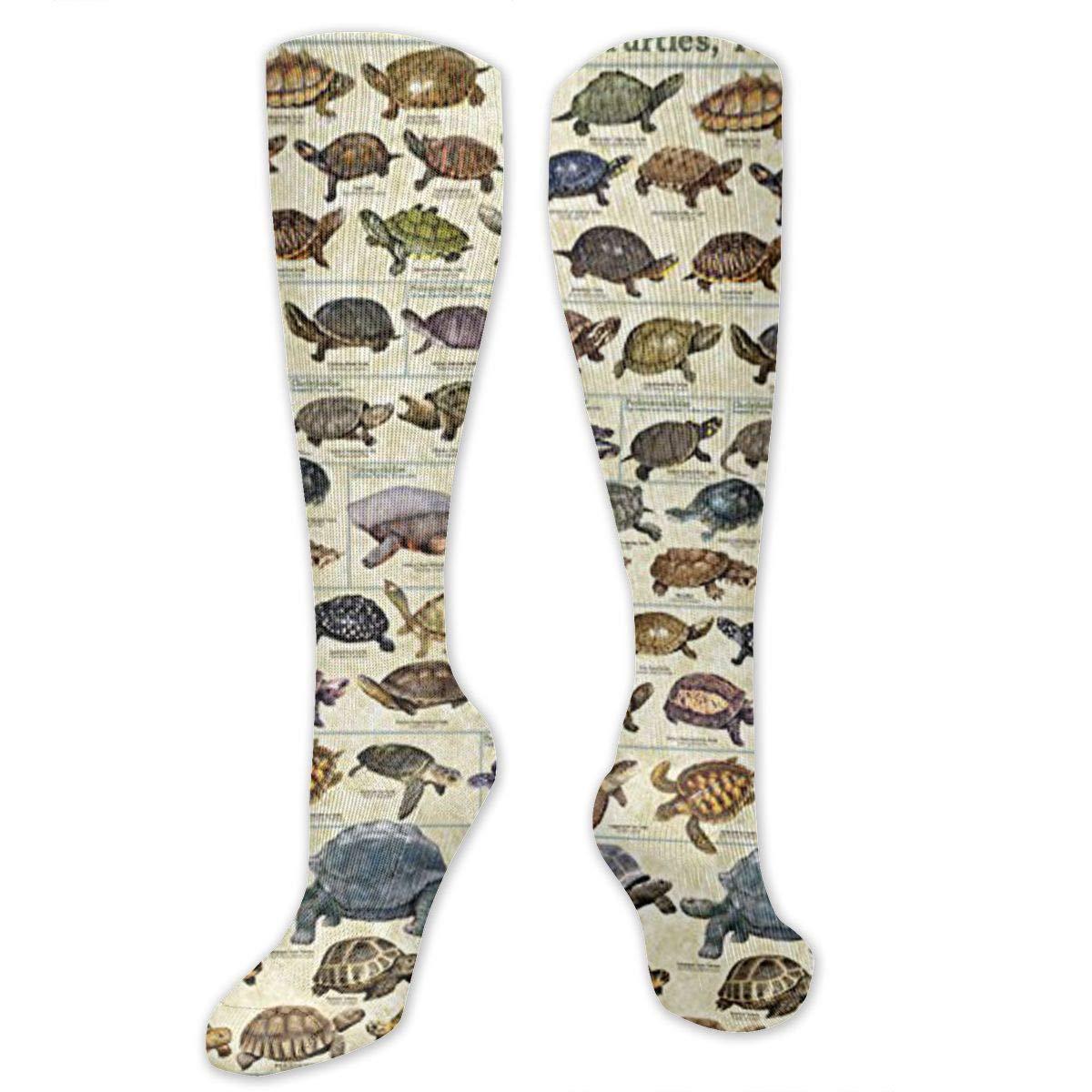 Unisex Sea Turtle Pattern Knee High Compression Thigh High Socks Soccer Tube Sock