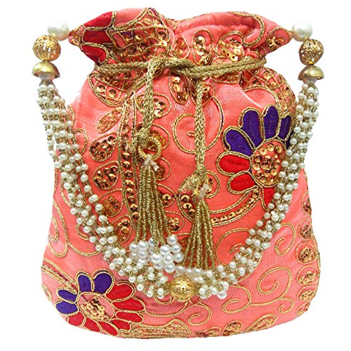 Pouch Evening (Wedding Women Purse Party Designer Bridal Clutch/Jewelry Pouch/Indian Evening Potli Handbag (10 x 8 x 1.75 inches, Light Pink Beauty))