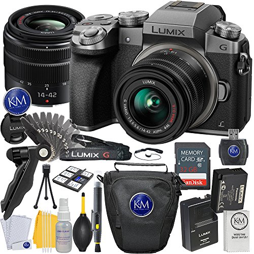 Panasonic Lumix DMC-G7 Mirrorless Camera with 14-42mm Lens (Silver) + 32GB Memory + Basic Photo Accessory (Mega Accessory Bundle)