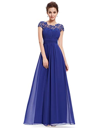 Ever Pretty Womens Lacey Empire Waist Floor Length Prom Dress 18 UK Sapphire Blue EP09993SB14