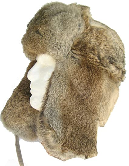 06feee649f9 Amazon.com  Klondike Sterling Rabbit Fur Trapper Hat Ear Flaps ...
