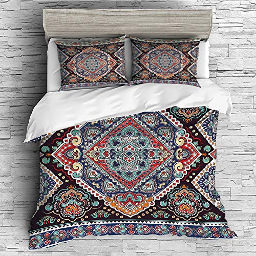 Cotton Bedding Sets Duvet Cover with Pillowcases Printed Comforter Cover Sets(King Size) Ethnic,Vibrant Vintage Framework Bohemian Curvy Ornate Borders Symmetric Cultural Colorful Decorative,Multicol