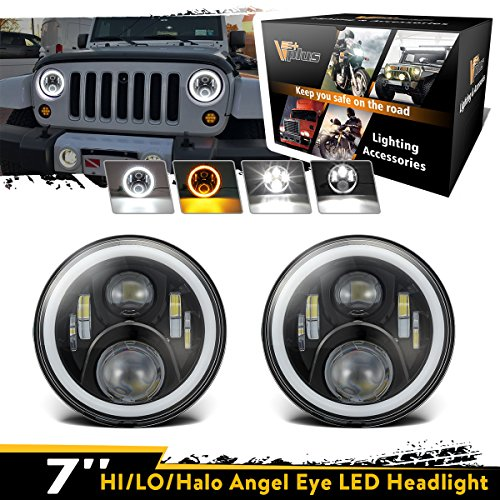 Pair Vplus 7 Inch Round Cree LED Headlights High Low Beam White Halo Ring Angel Eyes White DRL + Amber Turning Signal Lights For Jeep Wrangler JK TJ (Amber White Ring)