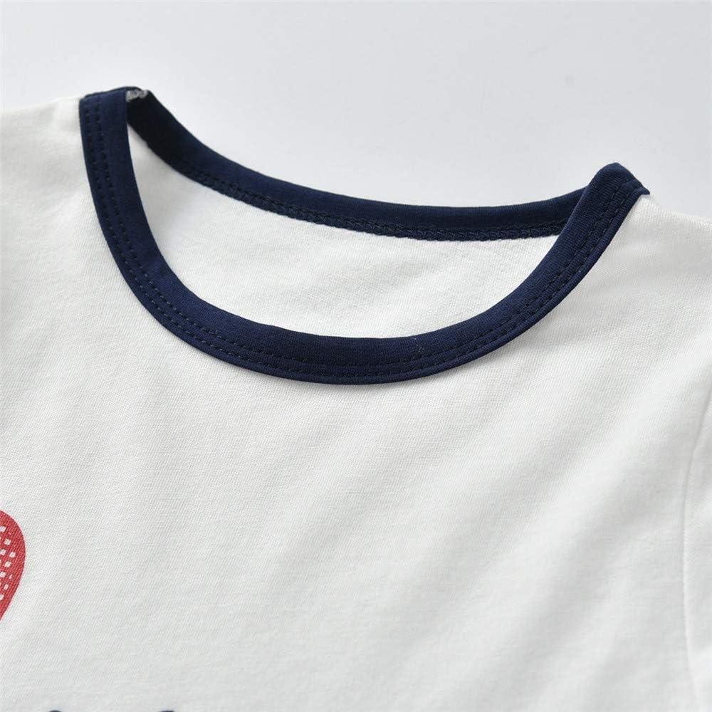 Fansu Ensembles de Pyjama B/éb/é 2 Pi/èces 80c d/ét/é Ensembles Gar/çon Fille Coton Dessin anim/é Imprim/é de T-Shirt /à Manches Pyjamas de Bande Dessin/ée sous-V/êtements 2-7 Ann/ée