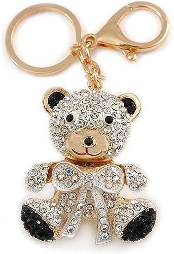 Ladies Girl Cute Teddy Bear Keyring Women Diamante Handbag Charm Key Chain New