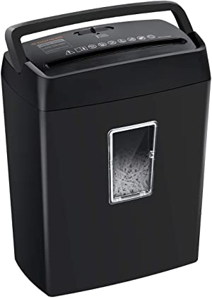 Bonsaii 6-Sheet Cross-Cut Paper Shredder, Shredders for Small Office & Home Use,4-Minute Continuous Running Time, 3.4 Gallons Wastebasket, Black(C204-C)
