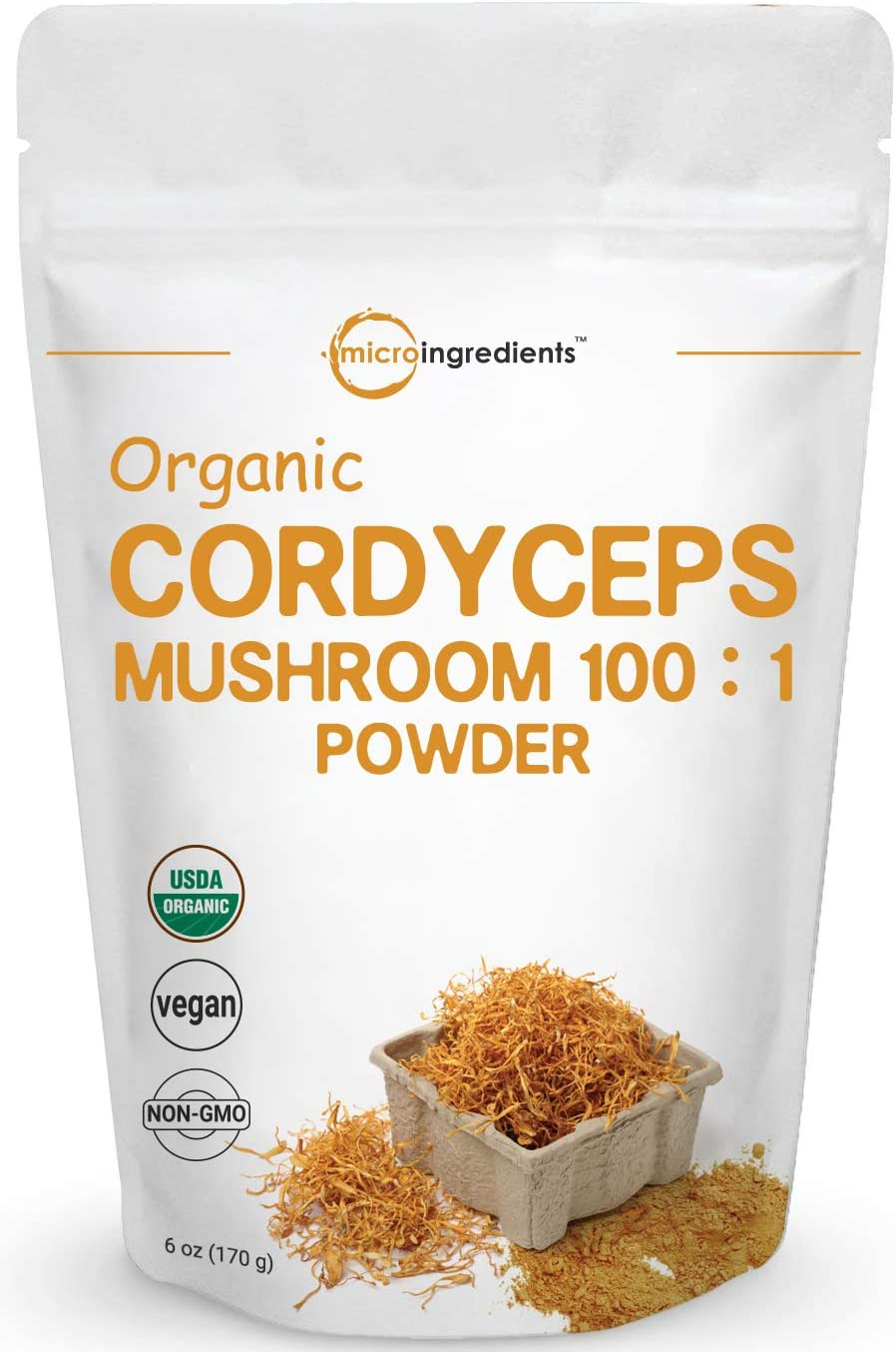 Sustainably US Grown, Organic Cordyceps Mushroom Extract 100 1, 6 Ounce, Cordyceps Powder Organic, Supports Energy and Immune Health, No GMOs and Vegan Friendly
