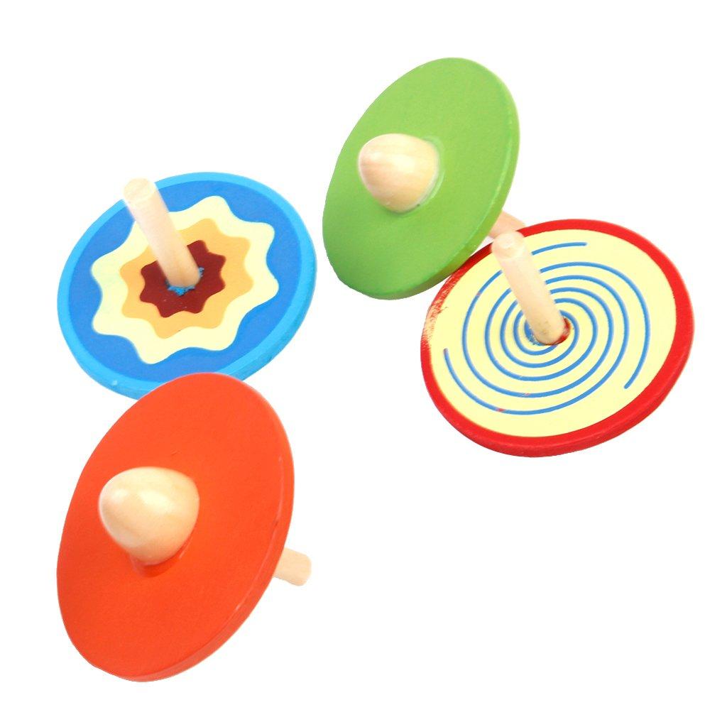 4pcs Trompos Peonzas Redondas de Madera de Color Multicolores para Bebé Juguete Generic JPA15012390