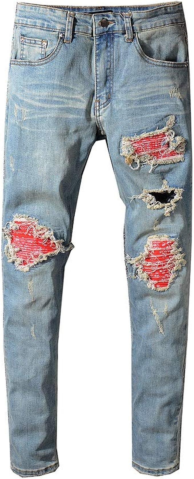 Nobrand Vaqueros Rojos Para Hombres Pantalones De Mezclilla Elasticos Rotos Con Agujeros Ajustados Amazon Es Ropa Y Accesorios