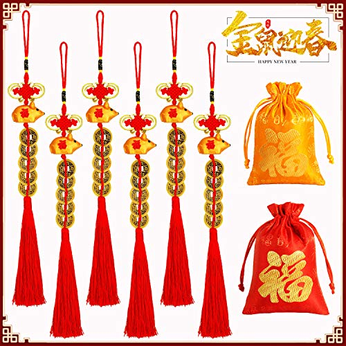 Playstyle 6Pcs Chinese Five Coins Feng Shui Tassel + 2Pc Red fu Bags, Chinese New Year Hanging Fortune Coin with Red Chinese Knot Tassel Good Luck Charm Lucky Charm for Wealth Health Success