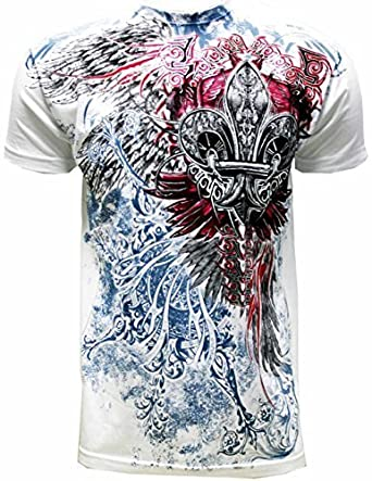 123508d7 Amazon.com: Konflic NWT Men's Crew Neck Cross Wings Graphic Designer MMA  Muscle T-Shirt: Clothing