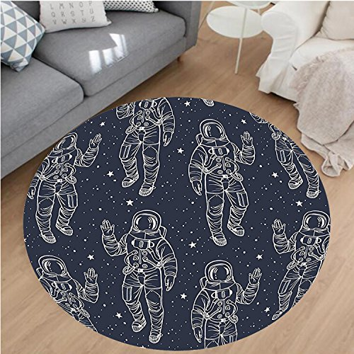 nel Microfiber Non-Slip Machine Washable Round Area Rug-e Sketchy Astronaut in Sky Stars Cosmic Spacesuit with Raised Hand Salute Dark Blue White area rugs Home Decor-Round 51