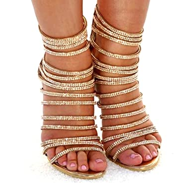 1db2a05db3 azmodo Woman High Stiletto Heel Dress Gladiator Peep Toe Sandals Gold 813-6  (US