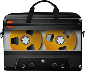 MRMIAN 3D Music Cassette Tape Funny Laptop Case Bag Sleeve Portable/Crossbody Messenger Briefcase Convertible w/Strap Pocket for MacBook Air/Pro Surface Dell ASUS hp Lenovo 15-15.4 inch