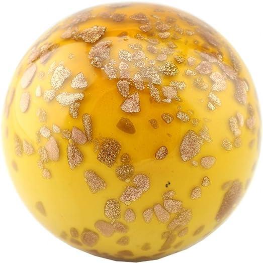 Exquisite Glass Decor Italian Millefiori Decorative 5 Inch Hand Blown Glass Murano Art Style Ball, Amber