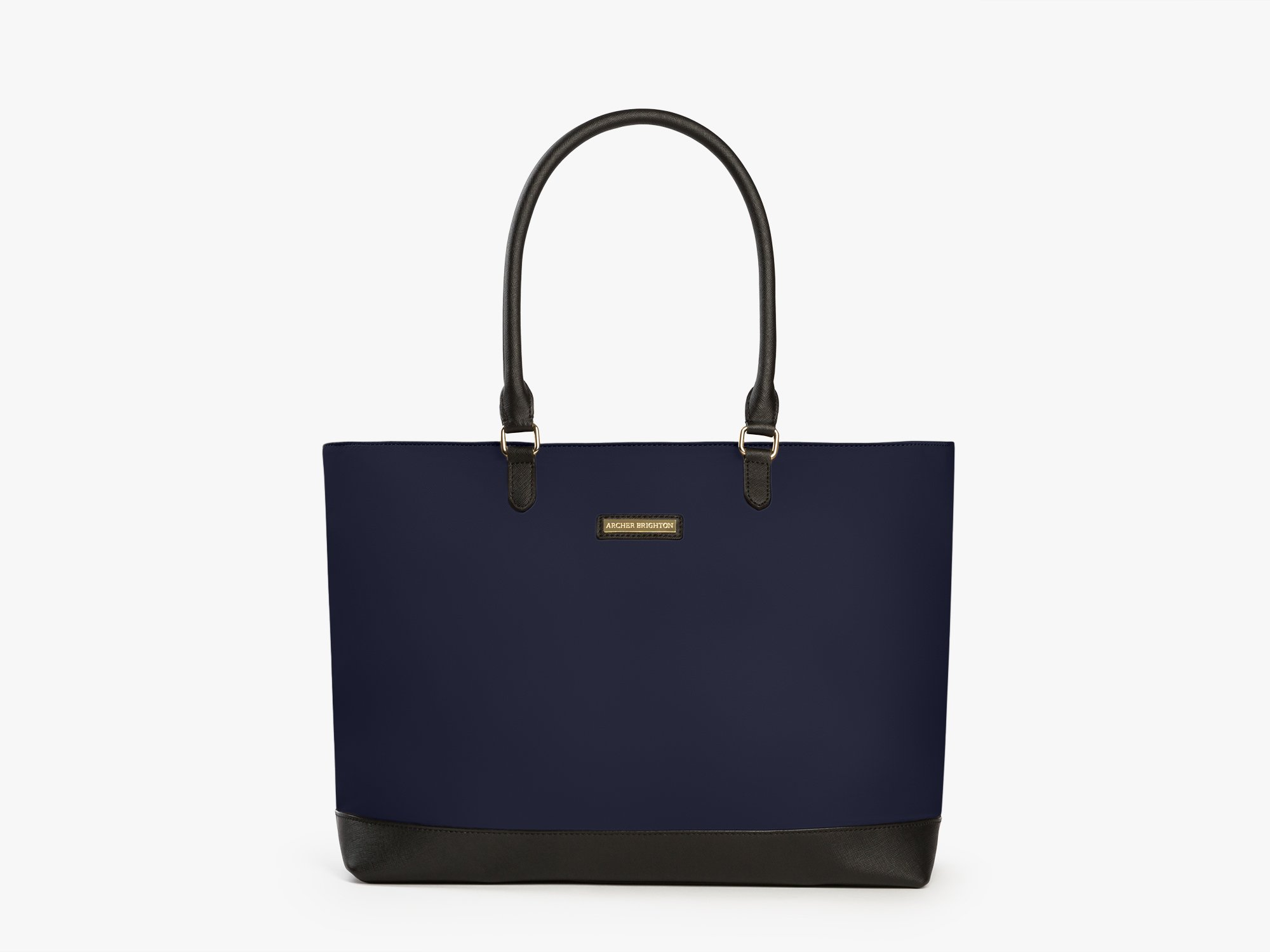 Archer Brighton Isabel Women's Laptop & Tablet Zip Tote, Women's 15.6 & 17 Inch Business Computer Briefcase Bag with Crossbody, Leather Canvas Organizer Handbag Purse for Work, Travel (Navy)