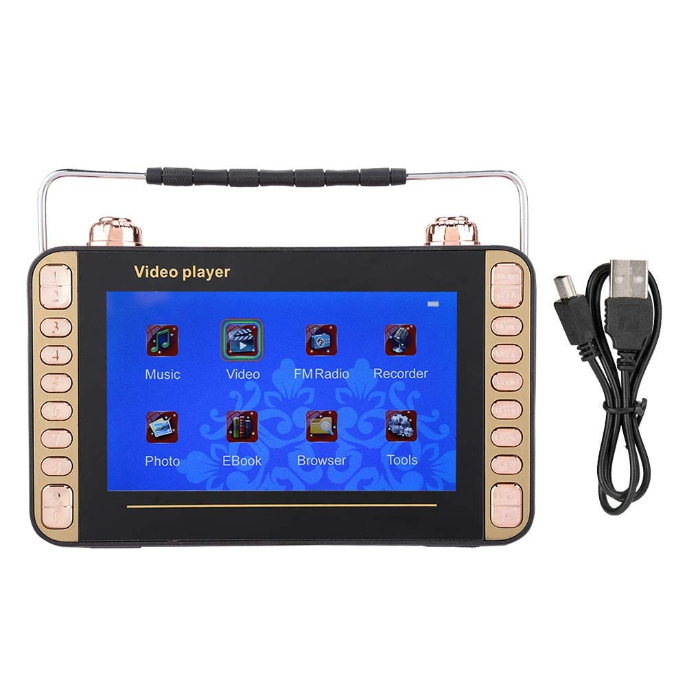 Tangxi Mini Digital Player,7in Portable Video Radio Singing Karaoke Machine MP3 DVD Player Speaker,Support USB and TF Card,Support Radio Function.