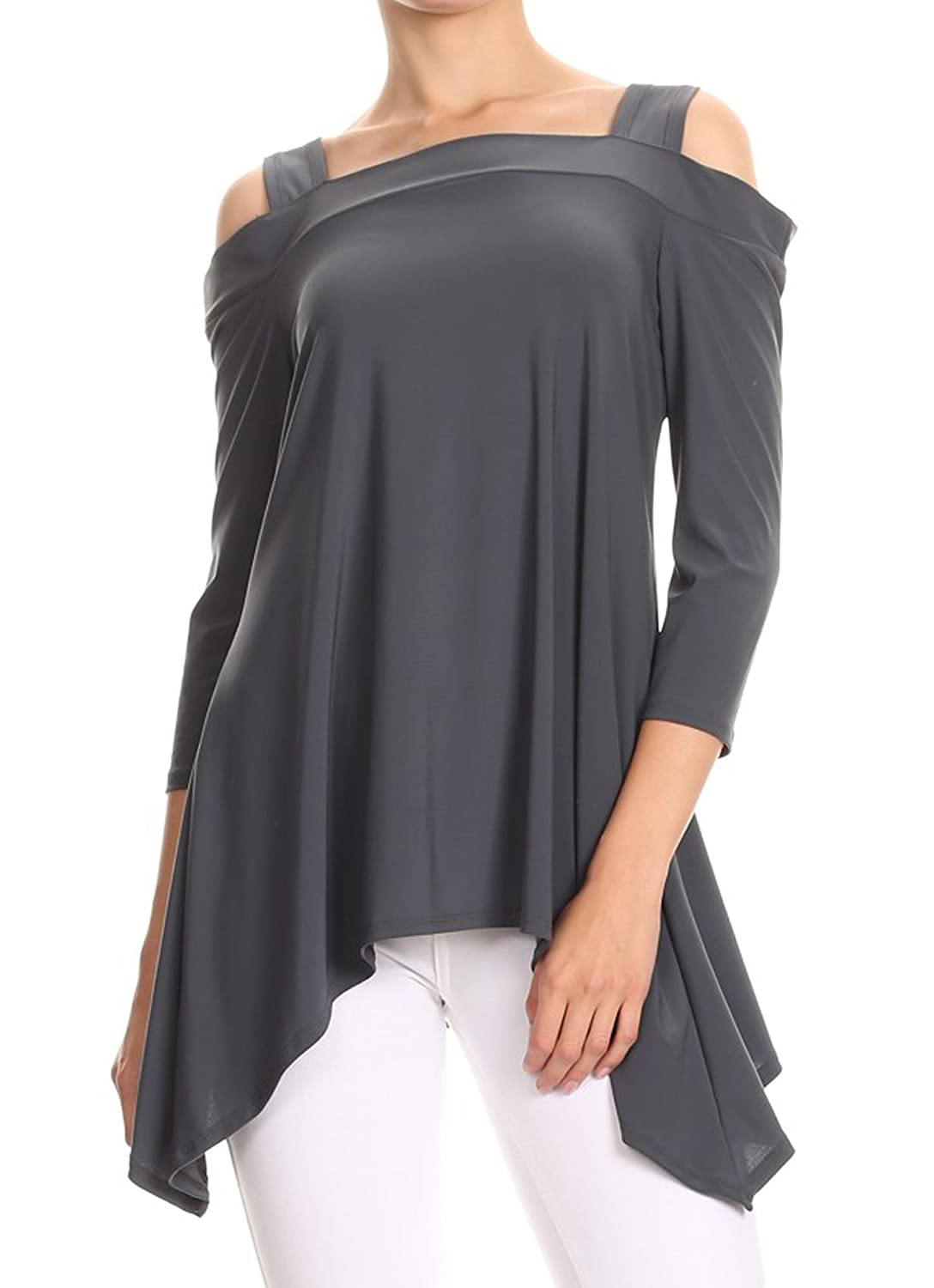 Avital Womens Cold Shoulder Trapeze Shirt A1288
