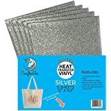 "(5) 12"" x 9.8"" Sheets Craftables Silver Glitter Heat Transfer Vinyl, HTV - Sparkling Easy to Weed Tshirt Iron on Vinyl for Silhouette Cameo, Cricut, all Craft Cutters. Ships Flat, Guaranteed Size"
