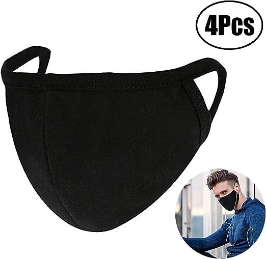 Coque Bouche Anti-poussière Pour Lot noir Lvcky Masques 4 Et Mouth Femme De Homme Coton