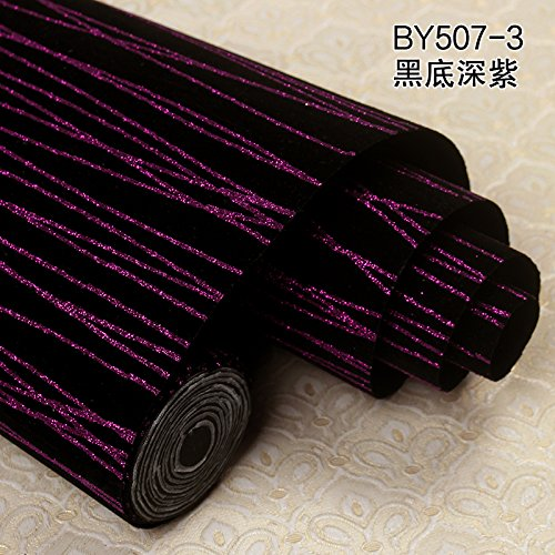 Jedfild  Ktv bar 3D Stereo Striped Flash Reflective Wallpaper Walkway Corridor Decoration Background Wallpaper Personality Cleansing Wall Cloth, 507-3 Black Bottom Deep Purple Map - Purple Striped Wallpaper