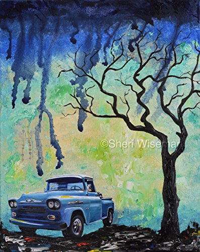 - 1950's Blue Chevy Apache 3000, Pickup, Truck, artist signed PRINT, fathers day, gift, christmas, present, men, man