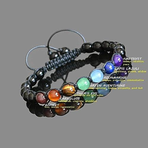 Men/'s Chakra Stones Braided Bracelet White Howlite Gemstones Silver Dragon Charm