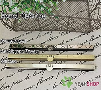 Round Opening Silver 7.5 inch Straight Channel Diva Purse Frame Wallet Clasp 3PCS 19cm