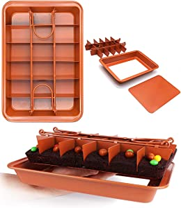 Non Stick Brownie Pans with Dividers, FDA Approved High Carbon Steel Baking Pan, Makes 18 Pre-cut Brownies All at Once