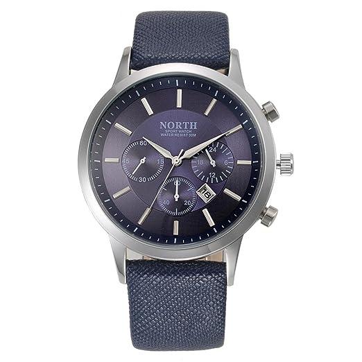 OverDose NORTH Deportes Lujo Mens de cuero genuino banda analógica cuarzo relojes reloj de pulsera BU: Amazon.es: Relojes