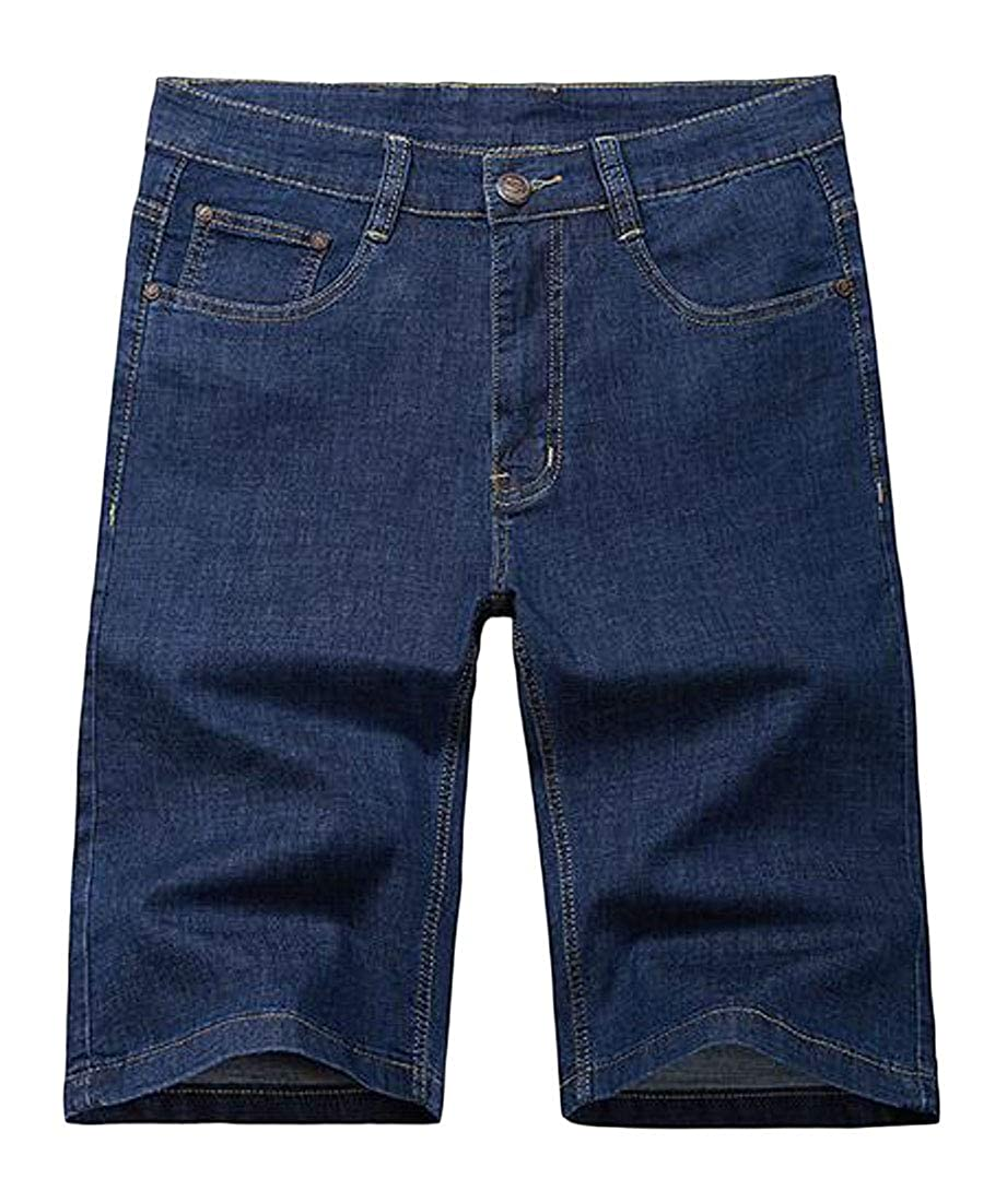 Jotebriyo Men Stretch Plus Size Loose Straight Leg Summer Denim Shorts Jeans