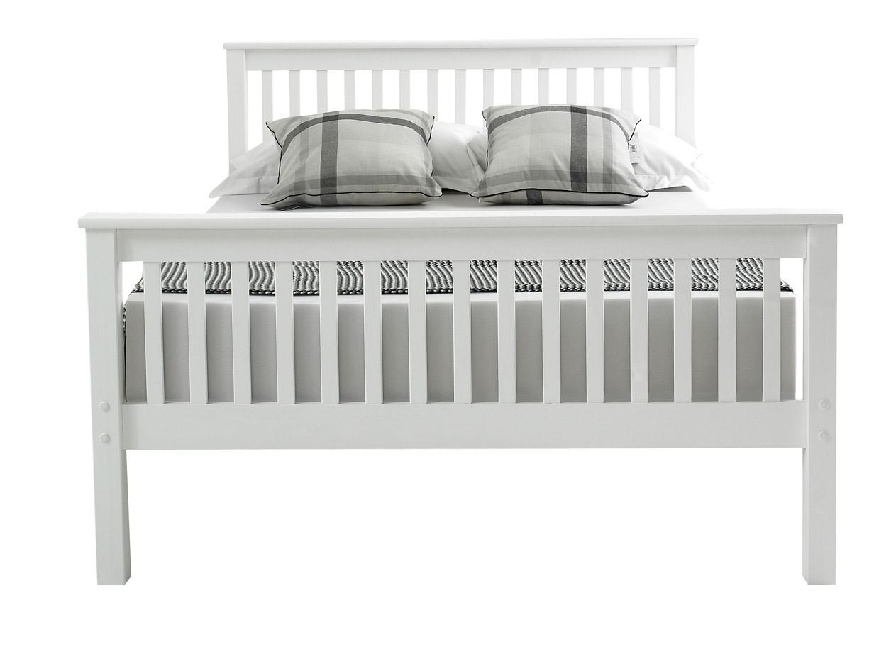 Grey Wooden Double Bed Part - 42: Happy Beds Lisbon High Foot End Bed Contemporary White Finish Solid Pine  Wood Frame Sleep 4u00276u0027u0027 Double 135 X 190 Cm: Amazon.co.uk: Kitchen U0026 Home