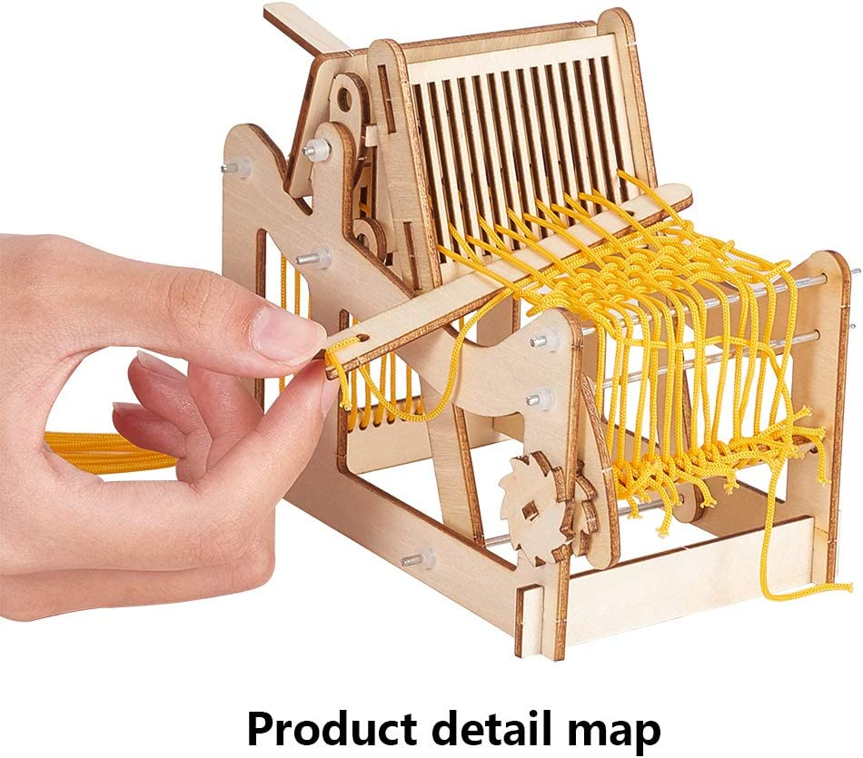 DIY Hand-Knitting Weaving Machine Creativity Weaving Frame Loom with 16 Strands Yarns and Adjusting Rods for Beginner Students Adults 5.9x5.9x3.5 PH PandaHall Multi-Craft Weaving Loom