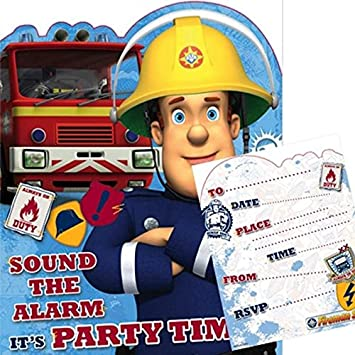 Fireman Sam Sound The Alarm Party Invitations Pack Of 10 Amazon
