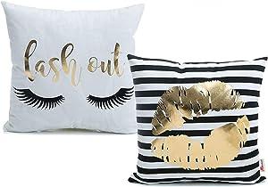 Monkeysell 2Pcs Bronzing Gold Home Pillowcases Throw Pillow Cover Cushion Waist Lumbar Pillow Lips Love Puzzles Pattern Design (2Pcs-White)