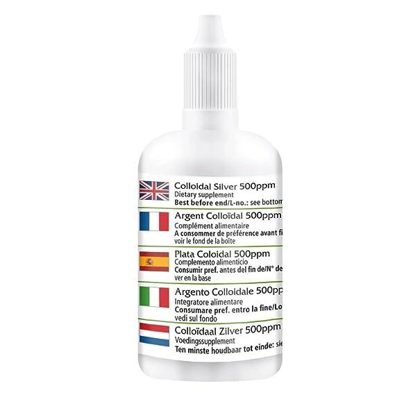 500 ppm de plata coloidal - durante 30 días - vegano - ALTA DOSIS - 30ml - verdadera plata coloidal - no iónico: Amazon.es: Salud y cuidado personal
