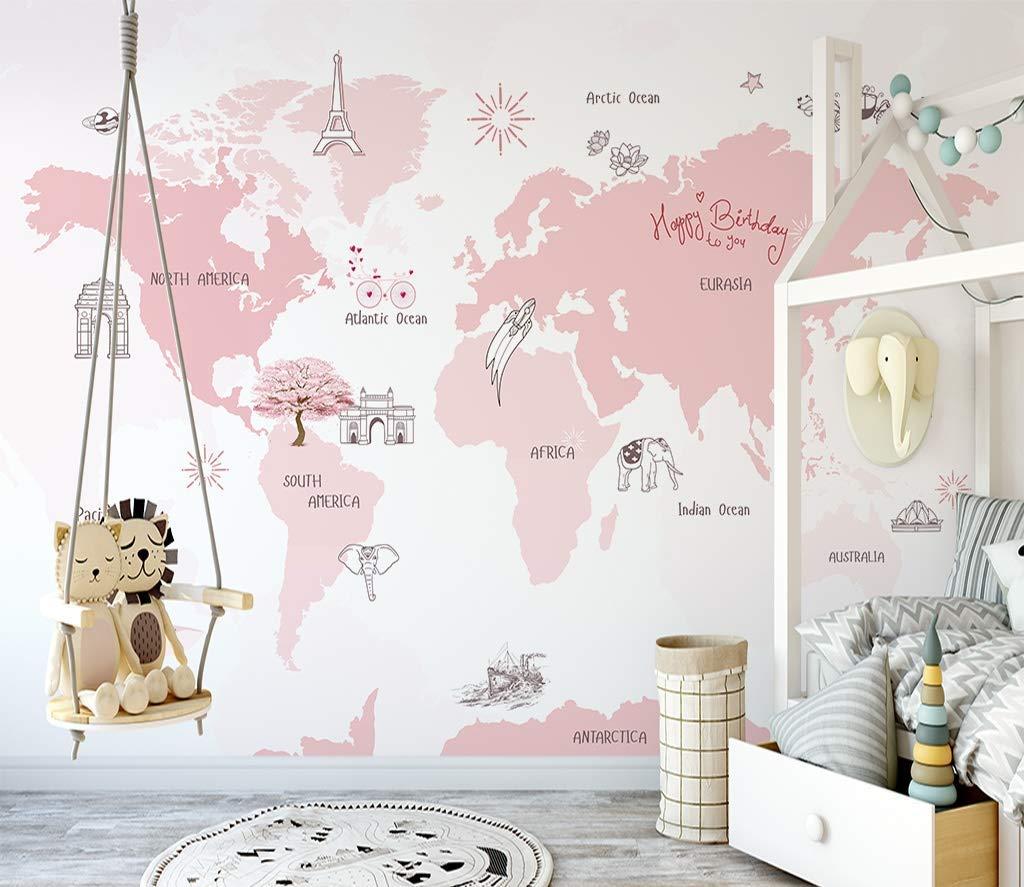Amazon Com Murwall For Girls Pink World Map Wallpaper Cartoon Pink Maps Wall Murals For Nursery Wall Print Girls Boys Bedroom Childroom Handmade