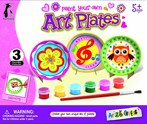 Koltose by Mash Craft Kit for Kids, DIY Paint Mini Decorative Art Plates with Stands, Arts and Crafts Kit for Little Boys and Girls, Includes 3 Mini Plates, 3 Stands, 6 Paints, and a Paint Brush (Plate Craft Kit)