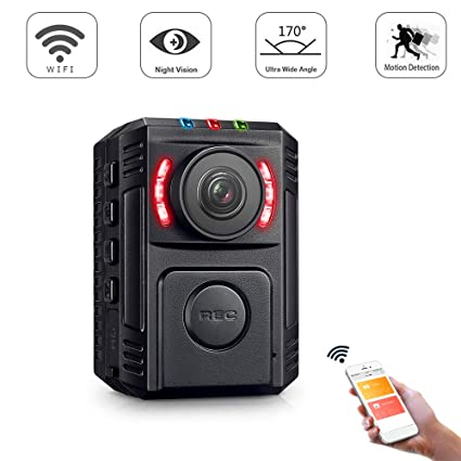 Police Portable Mini App Night Recorder Gzdl Amazon Surveillance Video Pocket Detection Enforcement com Photo Body - Law For 1080p Wifi amp; Vision Worn Hd With Phone Motion Wireless Camera