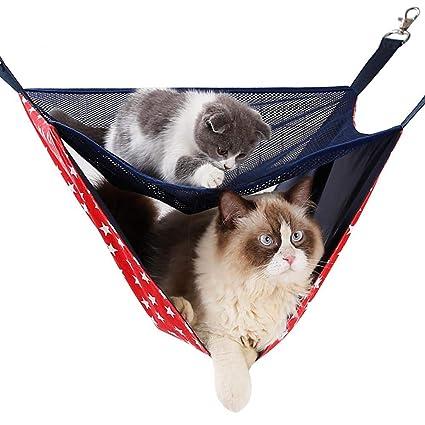DJLOOKK Ventana montada Hamaca para Gato Malla de Verano Transpirable Doble Gato Hamacas Colchoneta para Gatos