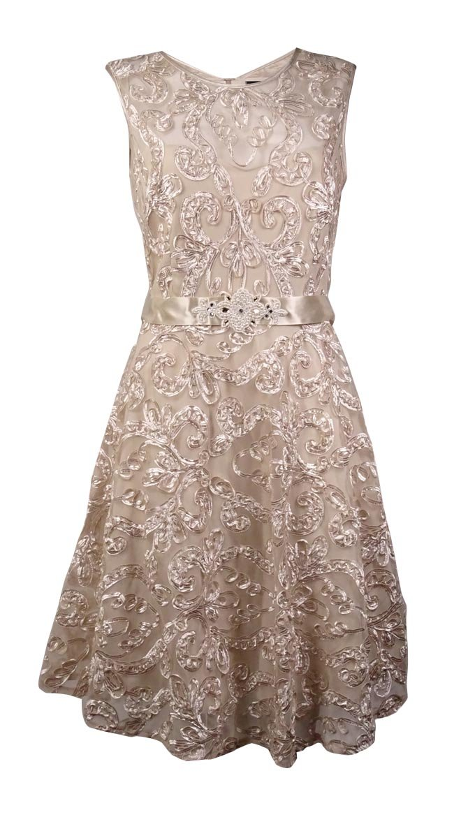 Betsy & Adam Women's Pearl Belted Soutache Mesh Dress (10, Champagne)