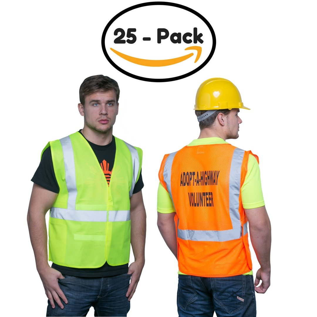 Brite Safety Style 100 Safety Vest, Hi Vis Yellow, Polyester Tricot Fabric, With Reflective Tape, Adjustable, One Size Fits Most, ANSI Class 2 Compliant (Pack of 25)