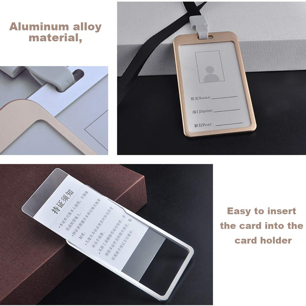 Weehey Porta Badge da Lavoro Porta Badge da Lavoro in Lega di Alluminio Stile ID Verticale con Cordino