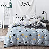 ORoa Blue White Twin Duvet Cover Set Half Dots Stars Duvet Cover with 2 Pillow Shams Bedding Set for Kids Teens, Style 6