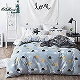 ORoa Blue White Twin Duvet Cover Set Half Dots Stars Duvet Cover with 2 Pillow Shams Bedding Set for Kids Teens, Style 6